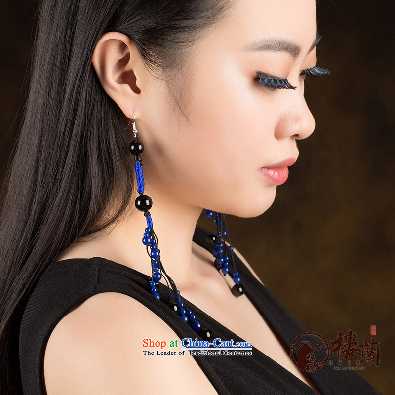Ancient Costume earrings dark blue agate retro ethnic decorations female long ear fall between temperament Ear Clip Silver _Fit No Kungkuan plus 2 million
