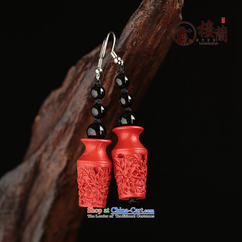 Cinnabar agate long red China wind earrings no Kungkuan for Ear Clip Ancient Costume ear fall arrest girls ordinary alloy earhook __, not easy to deform the hardness is high
