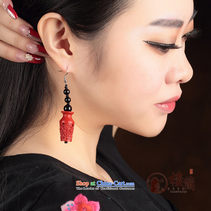 Cinnabar agate long red China wind earrings no Kungkuan for Ear Clip Ancient Costume ear fall arrest girls聽925 Yingerh Cod check_ANTI-ALLERGY plus 2 million