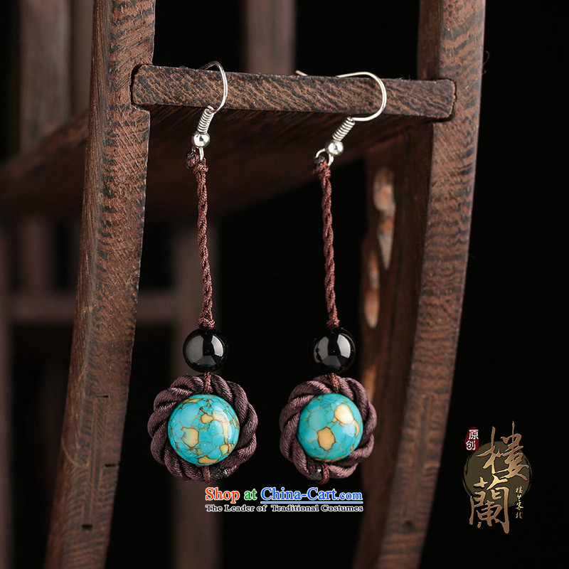 The Shek agate ethnic earrings long temperament Retro classic style fall arrester ear ear ornaments female plain ancient alloy earhook copper-colored __, not easy to deform the hardness is high