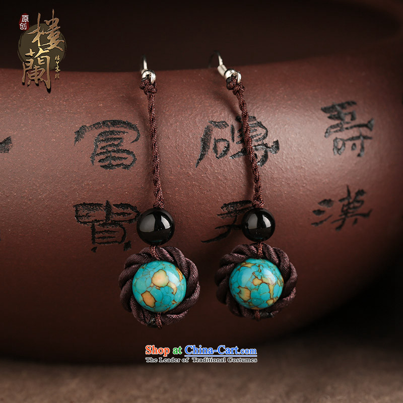 The Shek agate ethnic earrings long temperament Retro classic style fall arrester ear ear ornaments girls between the ancient Ear Clip Silver _Fit No Kungkuan plus 2 million