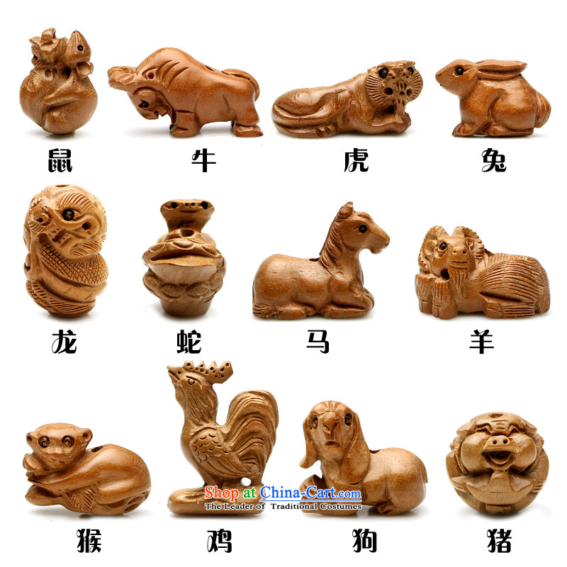 Natural mahogany wood carvings 12 zodiac bead mouse and the dragon and snake cattle Tiger Ma sheep dogs chicken farms DIY monkey hand string ornaments of the Chinese zodiac, Jim Furyk hall.... pig shopping on the Internet