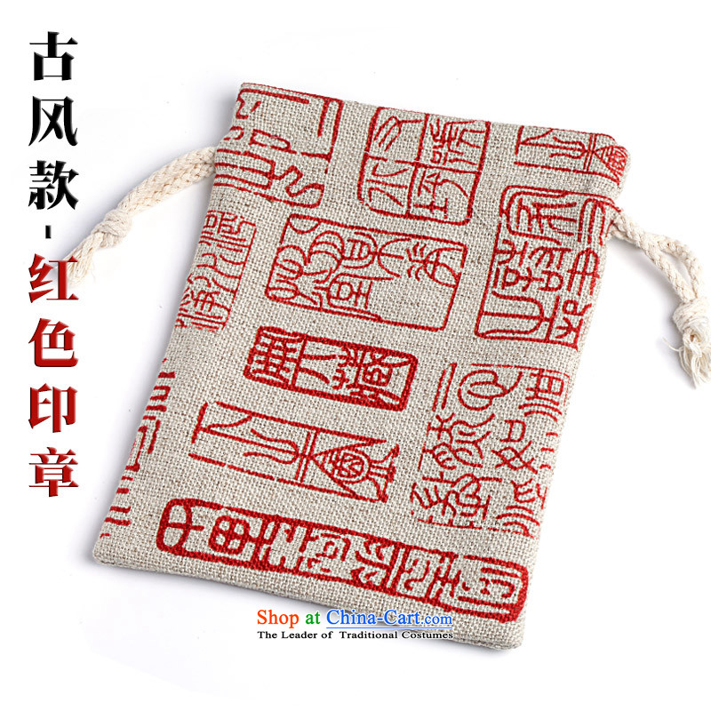 B : b water b stone cotton linen, playing bag bead BAG harness port kit bag to play in bag hand chain Jewelry bags bracelets bag from the conservation of ancient style bags - Red Seal.