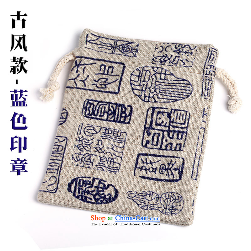 B : b water b stone cotton linen, playing bag bead BAG harness port kit bag to play in bag hand chain Jewelry bags bracelets bag from the conservation of ancient style bags - Blue seal.