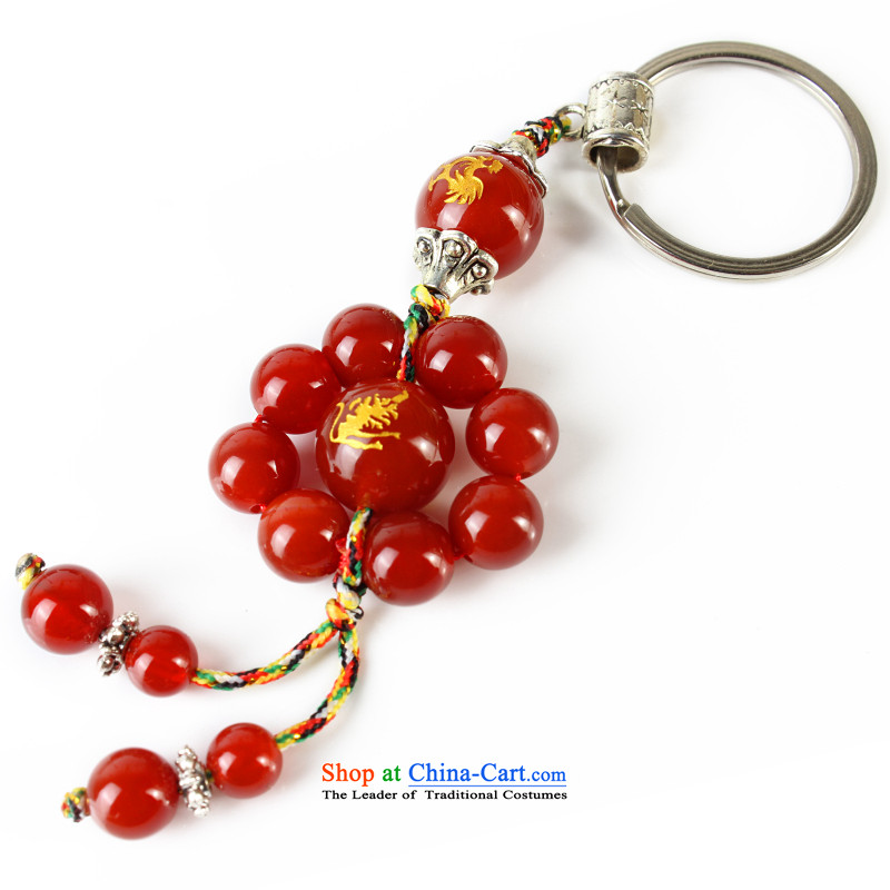 Good house-woo Apollo wind like Zodiac Leo creative Red Agate key ring to the friends of the men and women of the Chinese zodiac constellations jewelry Snake