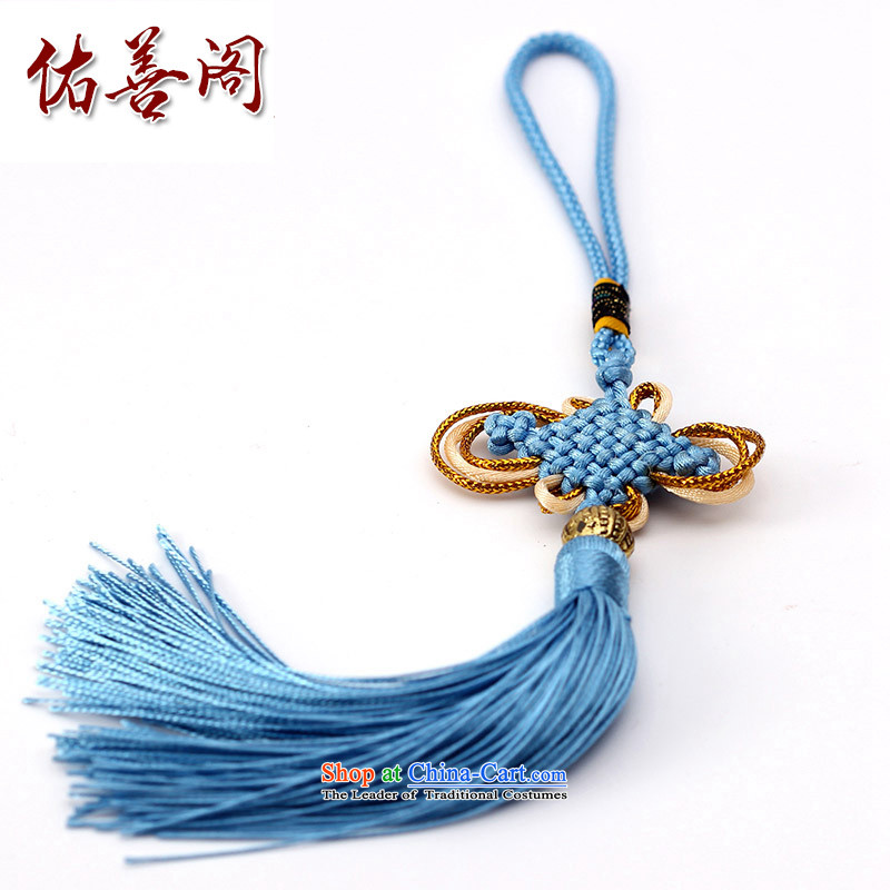 Woo Shin Ascott International China characteristics well field macrame Phillips head high and contemptuous of knot hanging multi-color flow su tassels DIY braided accessories light blue