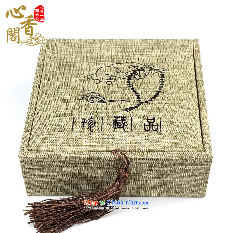 The pavilion of the fragrance of heart bead linen cartridge wooden boxes from hand chain bracelets gift packaging Jewelry Box China wind retro lift cover bead wooden box _?A_ Tsing Ma color linen bead wooden box