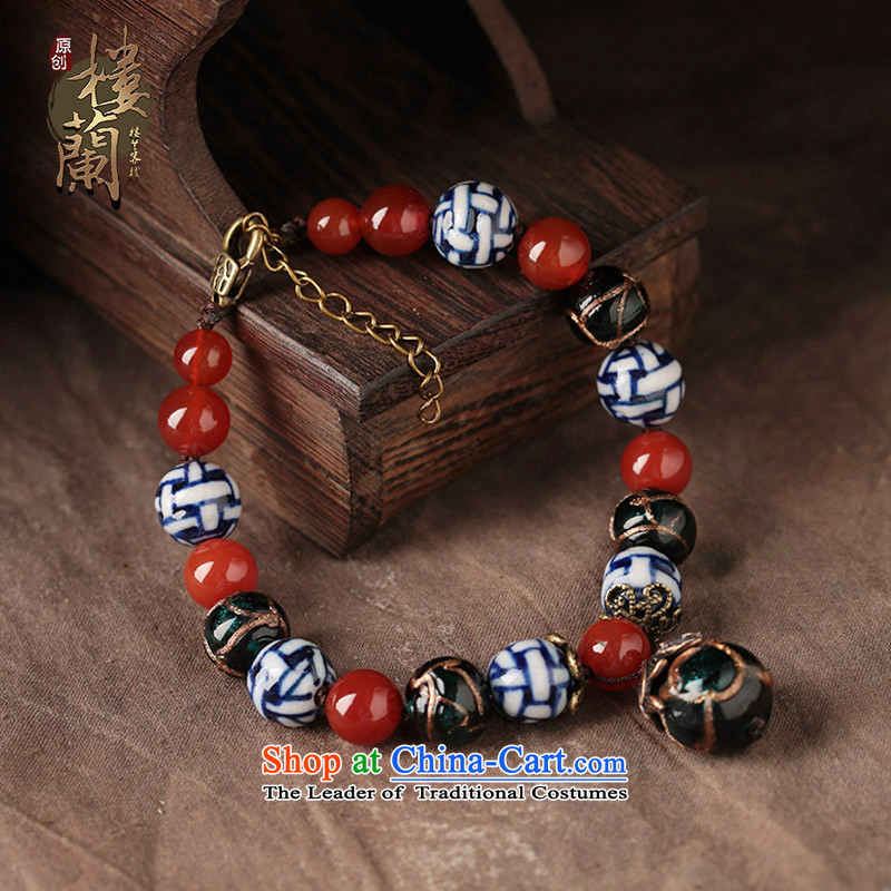 Ethnic chains female Red Agate glass porcelain antique original manually China wind jewelry ankle net size (Posted Amount wrist )23-27 cm
