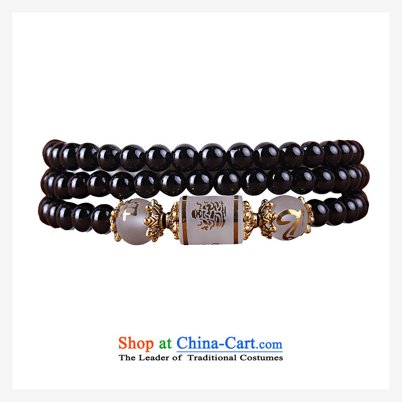 12 animals of the Clare Albemarle black agate hand string black agate聽bead bracelets 108 multi-turn female couple of auspicious ornaments black sheep of the Chinese zodiac. 6mm Agate