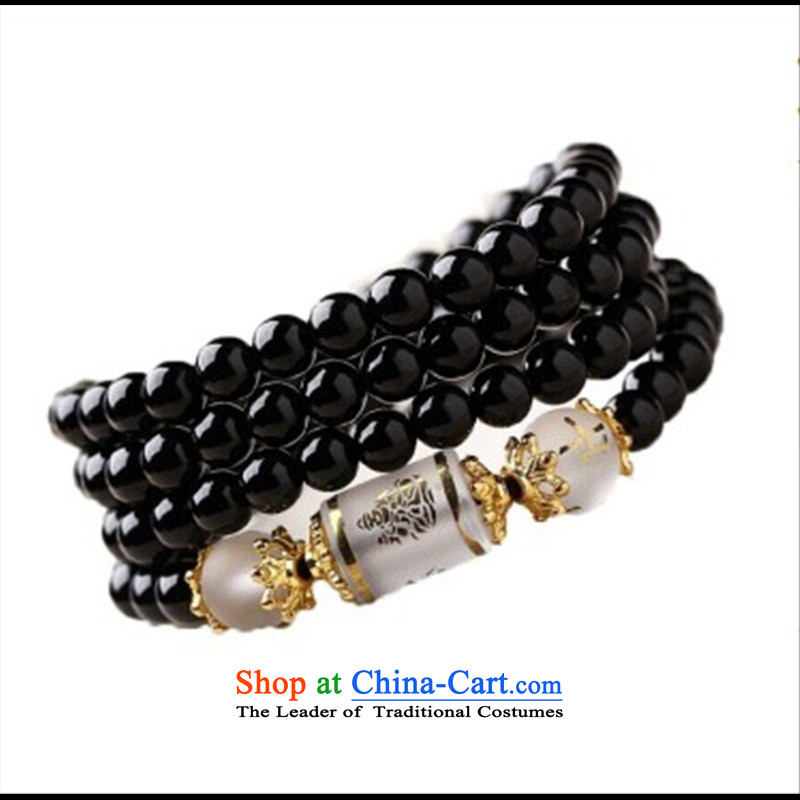 12 animals of the Clare Albemarle emulation black Onyx Obsidian Hand chain synthetic crystals聽108 bead multi-turn female couple_ Ornaments black sheep of the Chinese zodiac. 6mm Agate