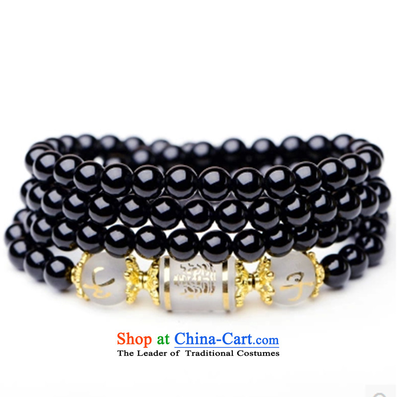 Gde black agate 108 bead bracelets on the fate of the zodiac couples hand chain multiple layers of men and women, the string of the Chinese zodiac dog + Open-License