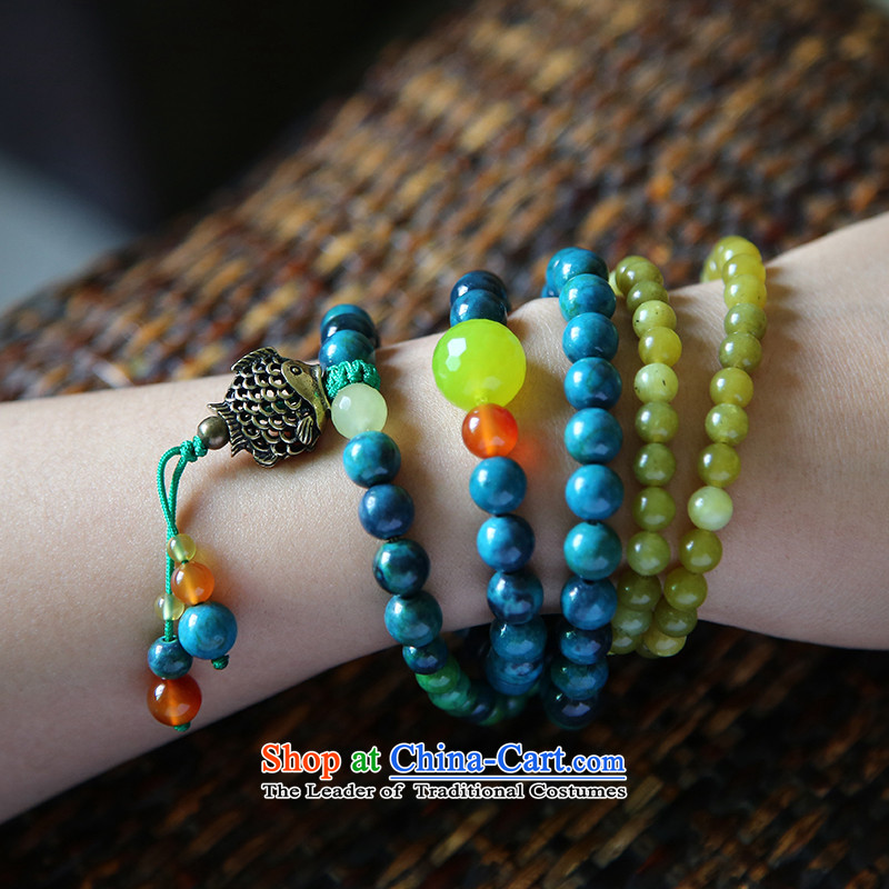 Hanata for more women of agate hand chain ring ethnic multi-turn fashionable cell string to his girlfriend gift retro xiaoyushan pendants ancient Silver Fish, flower shop online for , , ,
