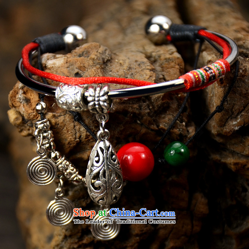 It wooden ethnic Tibetan style jewelry products handmade Miao Silver Retro Red China wind chains female