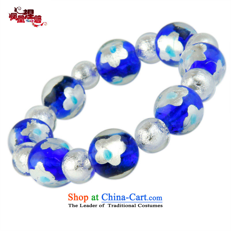 Phoenix Nirvana Hand chain female blue glass and white flowers foil glass beads original China wind DIY AA108120610W Ornaments