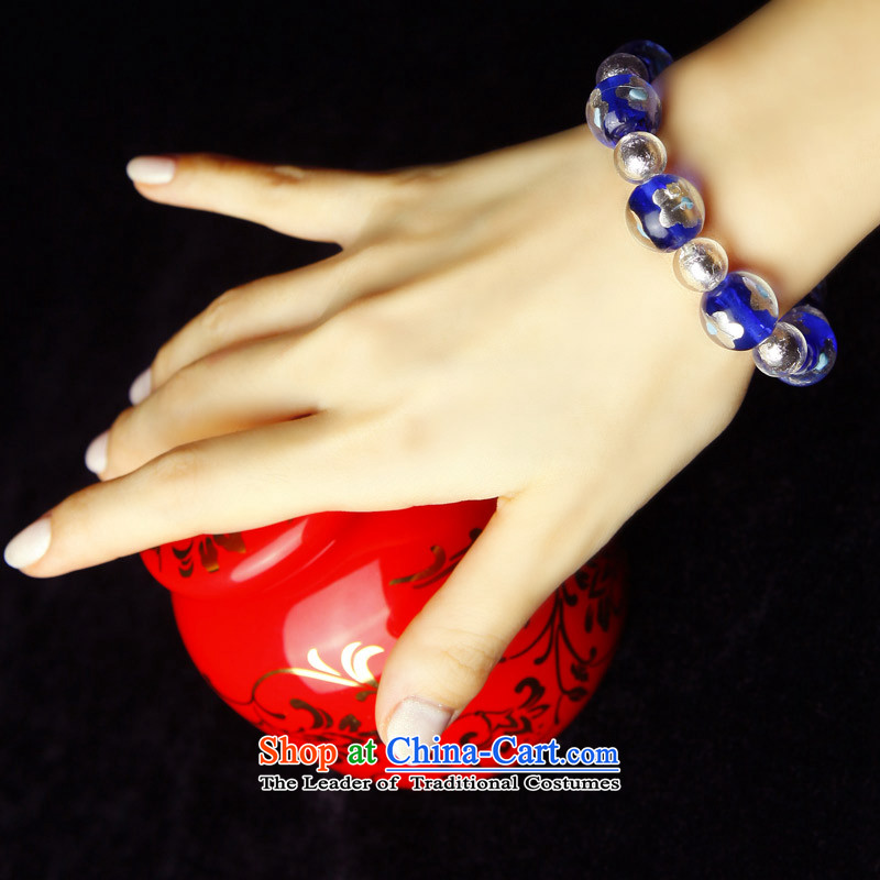 Phoenix Nirvana Hand chain female blue glass and white flowers foil glass beads original China wind DIY jewelry AA108120610W, Phoenix Nirvana , , , shopping on the Internet