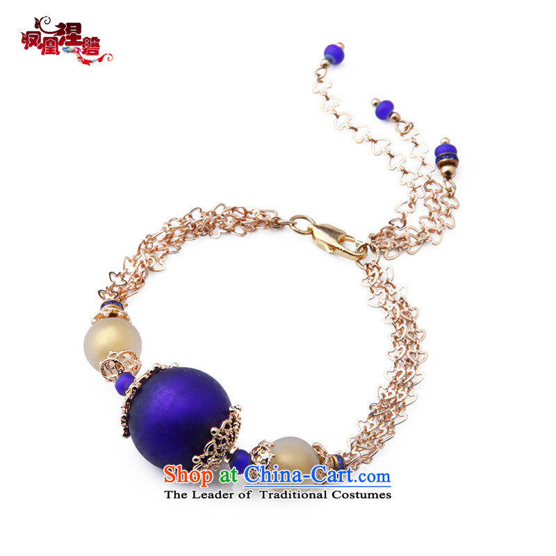 Phoenix Nirvana Hand chain fashion gold plated single-storey girl from China wind glass beads temperament Accessories Products
