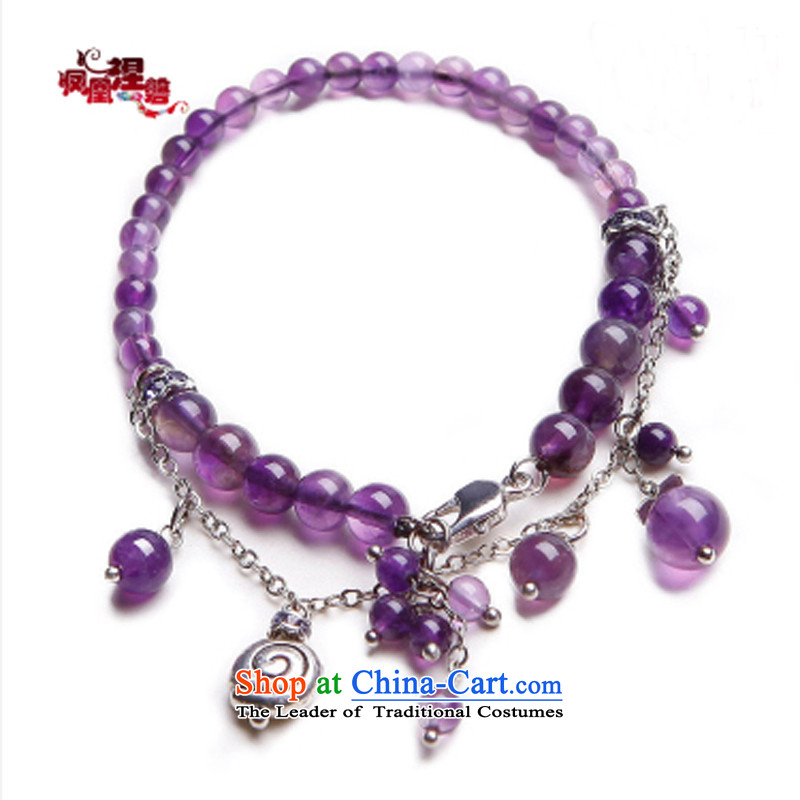 Phoenix Nirvana original innovative mobile phone link female stylish natural amethyst double China wind manually AA118130410W Ornaments