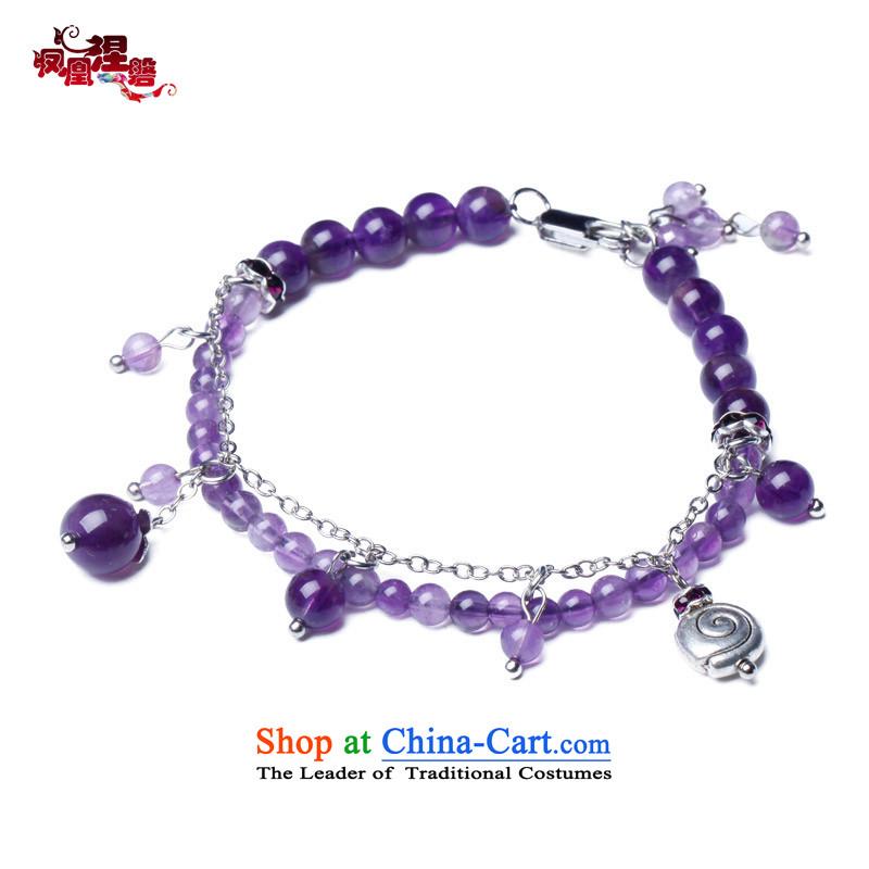 Phoenix Nirvana original innovation, chains female Sleek and versatile natural Amethyst China wind manually R22130515 Ornaments