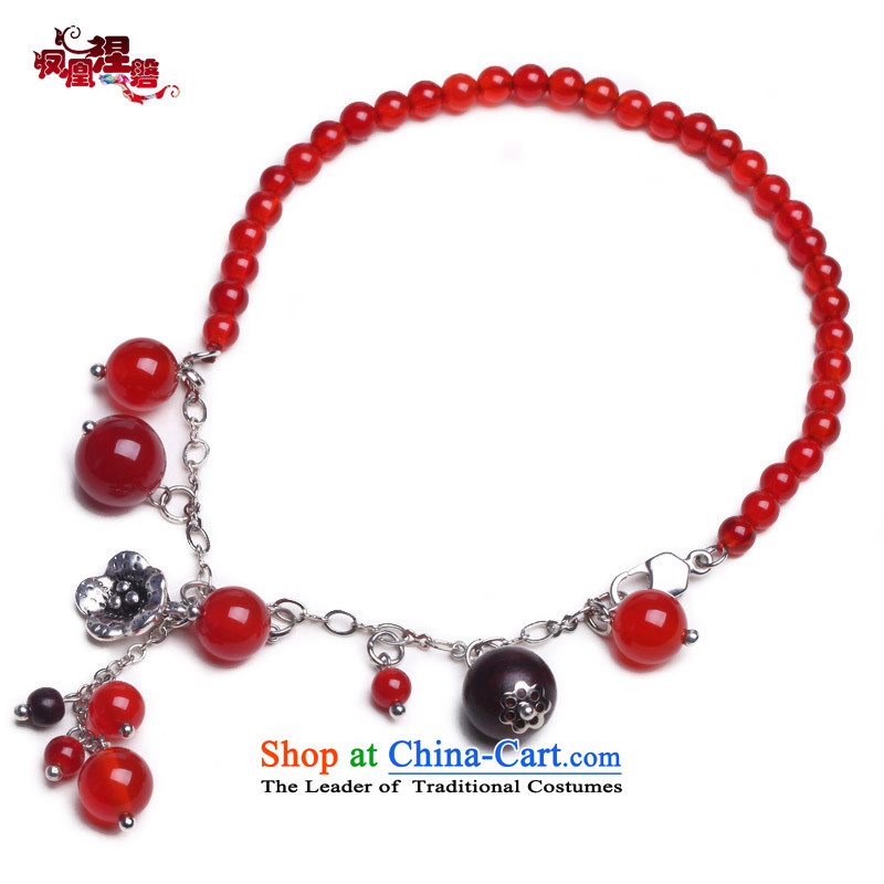 Phoenix Nirvana original new stylish girl chains natural Red Agate Miao Silver China wind manually AC009130510W Ornaments