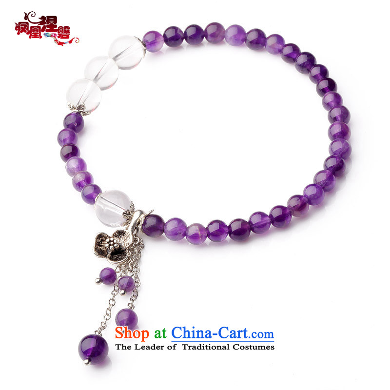 銆� romantic stone- Phoenix Nirvana chains female Sleek and versatile natural amethyst chains China wind original Ornaments
