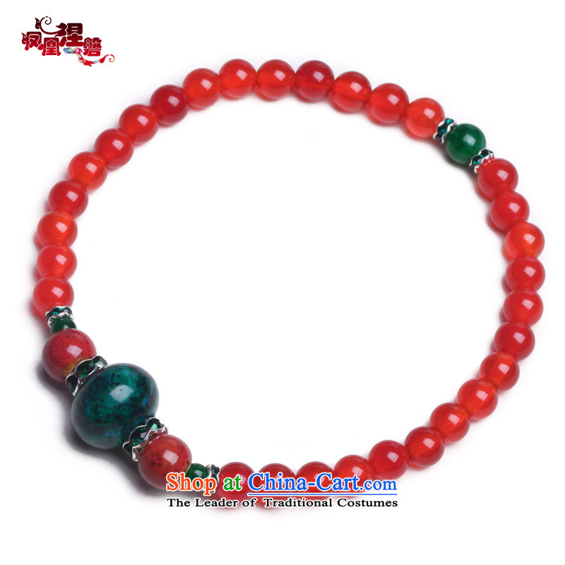 Phoenix Nirvana original innovation, chains female natural Red Agate retro Phoenix Stone China wind AC005130510W Ornaments