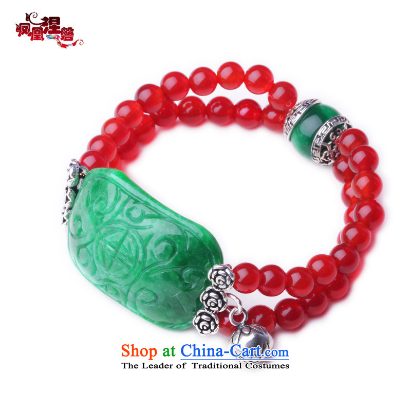 Phoenix Nirvana original hand chain multiple layers of nostalgia for the well-being of female field dry Tsing Red Agate China wind聽AA005131210W Ornaments