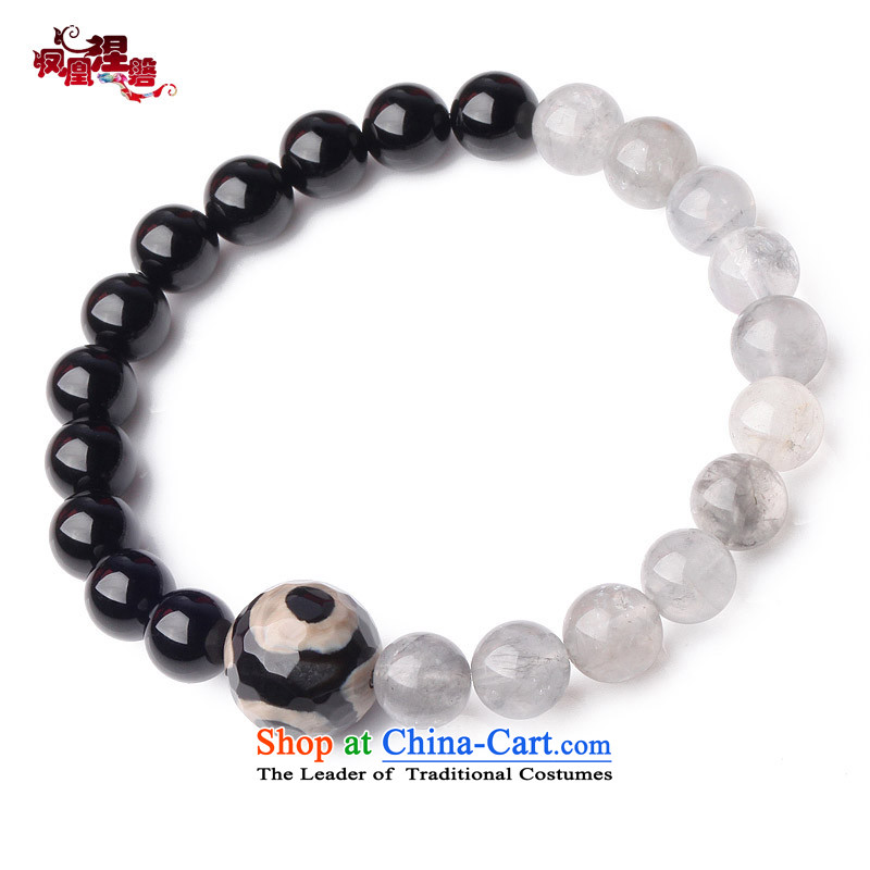 Phoenix Nirvana original couple hand chain female retro black agate cloud crystal China wind manually DIY jewelry AA009140210W B Male_