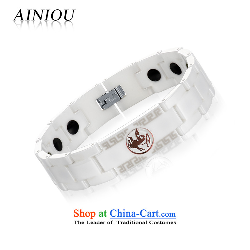 Ainiou Zodiac ceramic men magnetic germanium stone traditional ethnic wind hand jewelry can personalize length adjustment Sheep