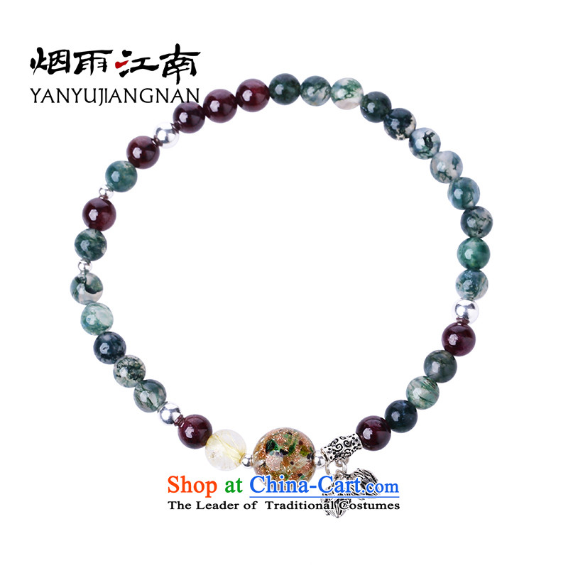 Gangnam-gu rainy retro ethnic chains and silverware made crystal clear the emulation of pomegranate stone green crystal glass ornaments spectre of stylishly decorated China wind birthday gift ankle Circumference 21cm