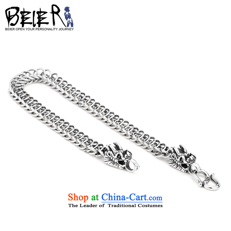 Beier stylishly 925 Silver Dragon Zhongshan WEIDE China wind_ Two-Headed Dragon male and pure silver bracelet diameter 7mm length of chain SCTYSL0148 21cm