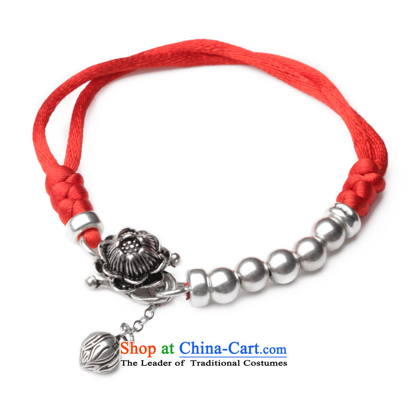 Phoenix Nirvana original Hand Woven by the year red lotus 925 silver bracelet female DIY China wind ornaments of Lin Hand chain