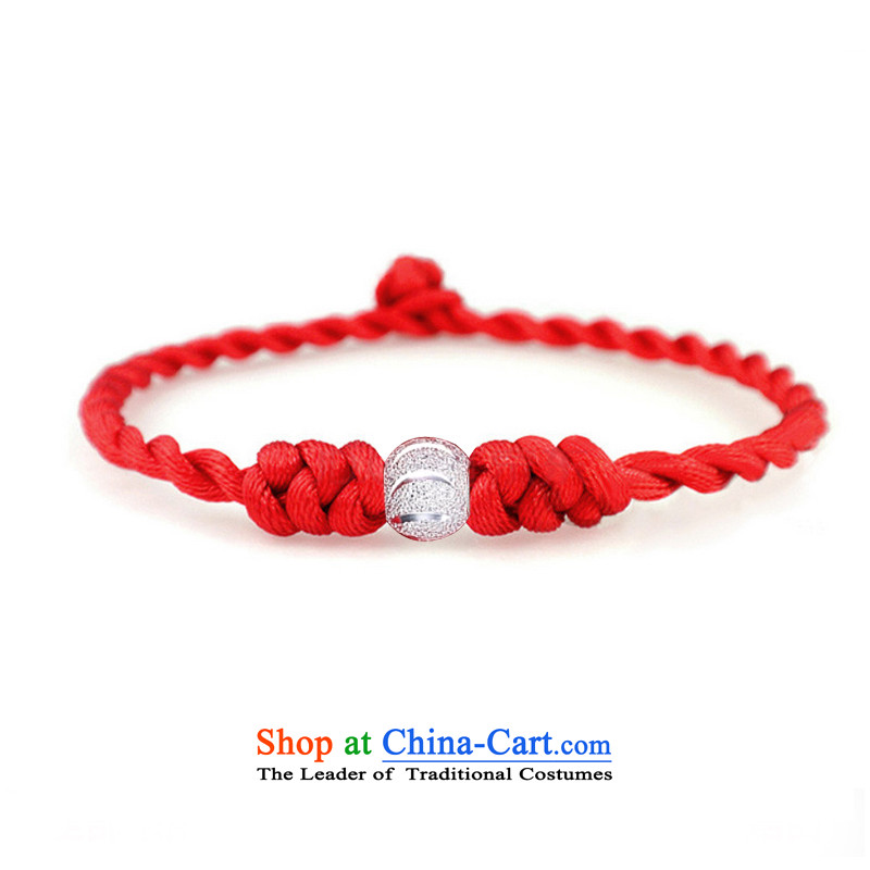Meceon 925 silver bead Red Hand chain China wind and stylish mobile phone link women couples silver bracelet