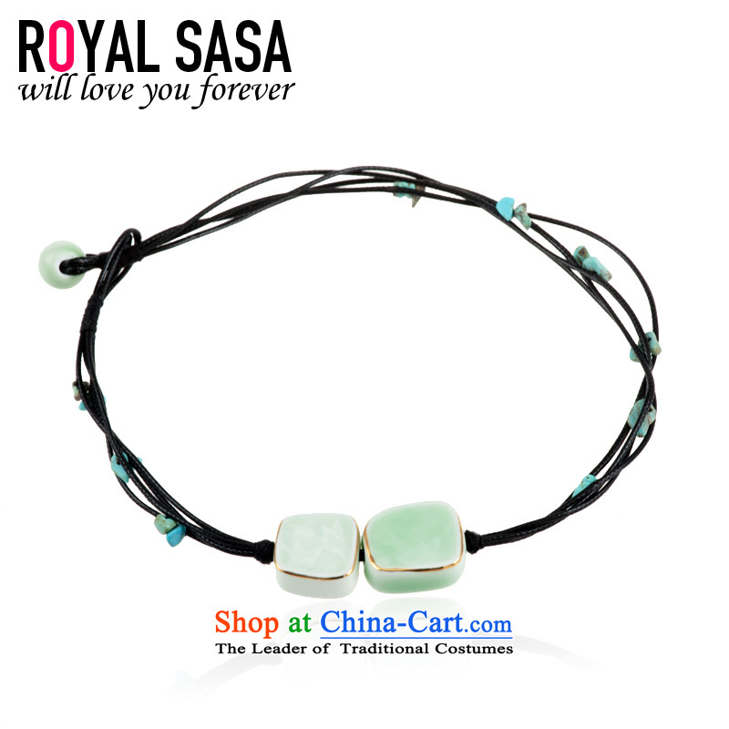 The Royal Sa Sa ceramic ornaments Stylish retro China wind literary and artistic hand woven ceramic bracelet personalized wall hangings 07SP273