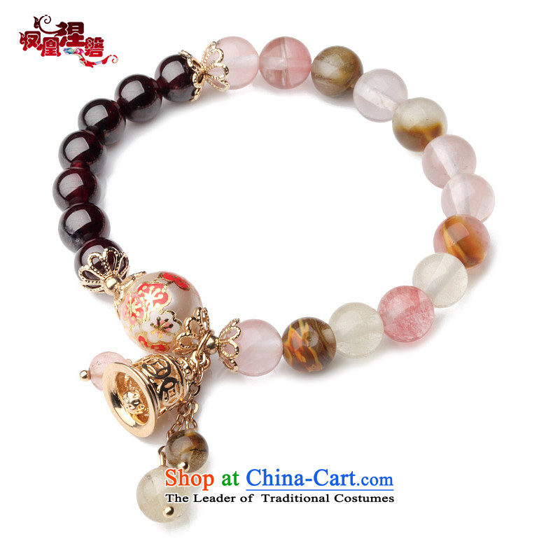 Phoenix Nirvana original natural stone pomegranates single ring hand chain female painting pearl nickel really Golden Flower and China wind to string manually jewelry claims would like to Hand chain