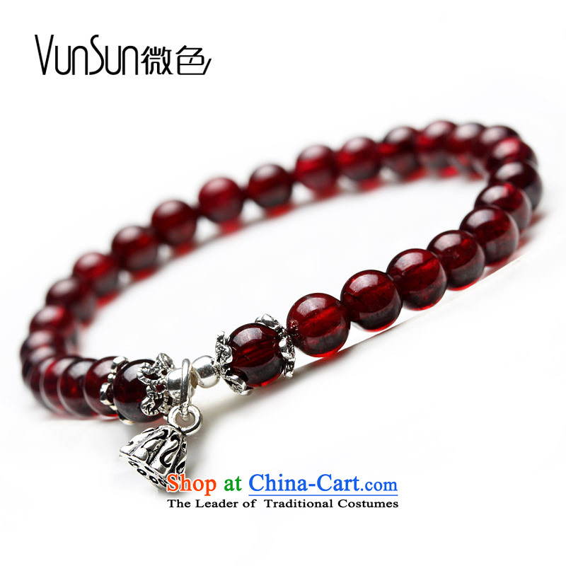 Vunsun natural crystal wine red pomegranates stone female silver hand string bead sheep in order this hand chain jewelry products Chinese Feast 8 mm diameter of Pearl River Delta 15-17