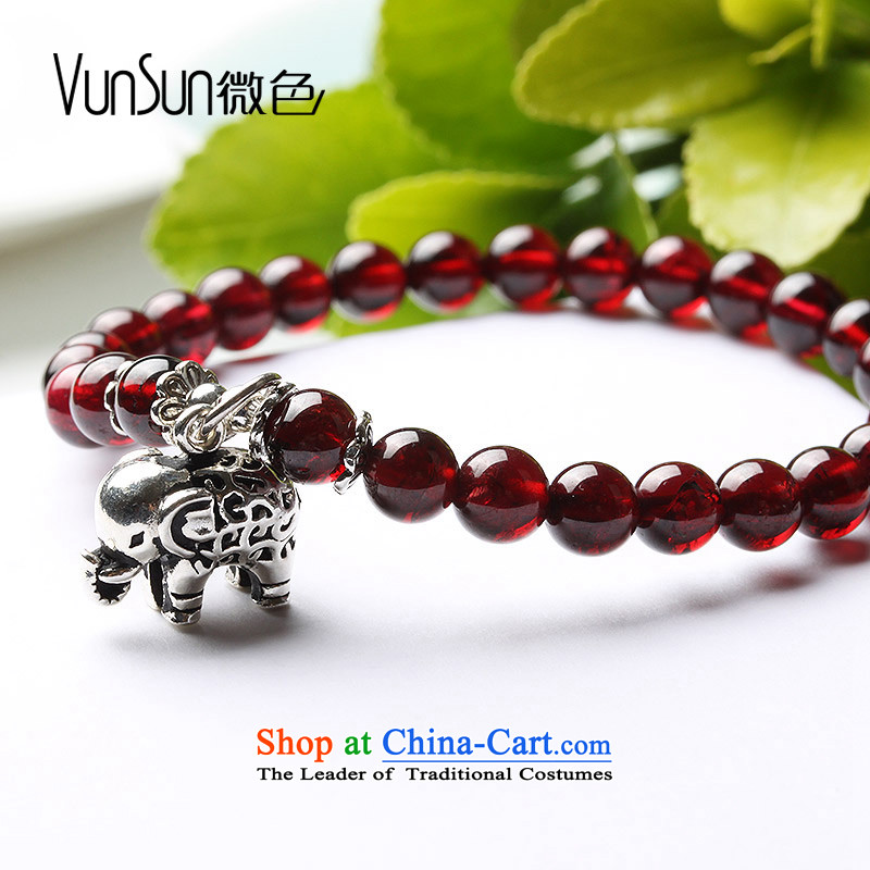 Vunsun natural crystal wine red pomegranates stone female silver hand string bead sheep in order this hand chain jewelry products Chinese Feast 8 mm diameter 15-17, Pearl micro-color (vunsun) , , , shopping on the Internet