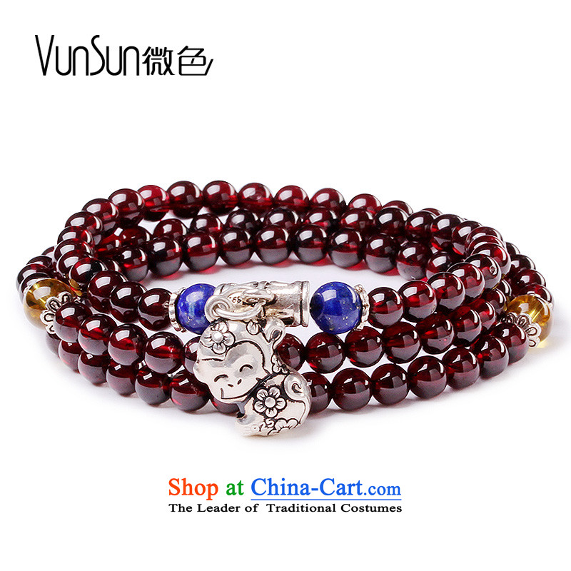 The pomegranates vunsun crystal stone female multi-storey silver hand string zodiac this year by hand chain sheep ornaments of the Chinese zodiac pig