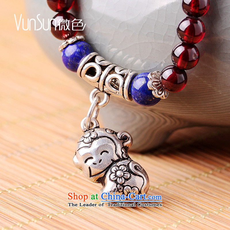 The pomegranates vunsun crystal stone female multi-storey silver hand string zodiac this year by hand chain sheep ornaments of the Chinese zodiac pig, micro-color (vunsun) , , , shopping on the Internet