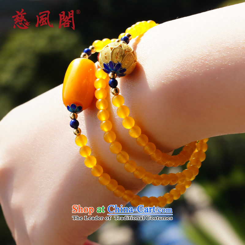 Tsz trade wind natural honey wax hand chain Baltic long bead natural amber Chalcedony Dzi hand string Cloisonne Accessory female creativity retro China wind ornaments of the Dumping Sai Wong Yuk-marrow)