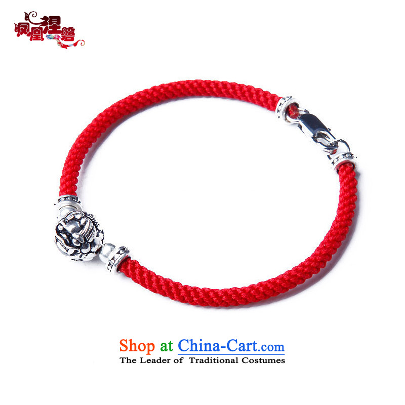 Phoenix Nirvana Hand chain retro 925 silver MYSTIC FORCE hand woven red Couple hand chain China wind ornaments AA270150510W women 17.5cm
