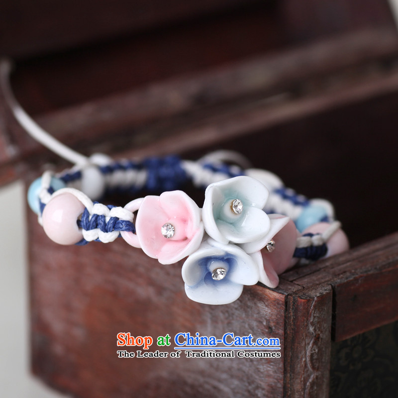 Jingdezhen Song Chong Wa Hand chain female stylish ceramic Diamond Flower bracelets manually China wind Ornaments