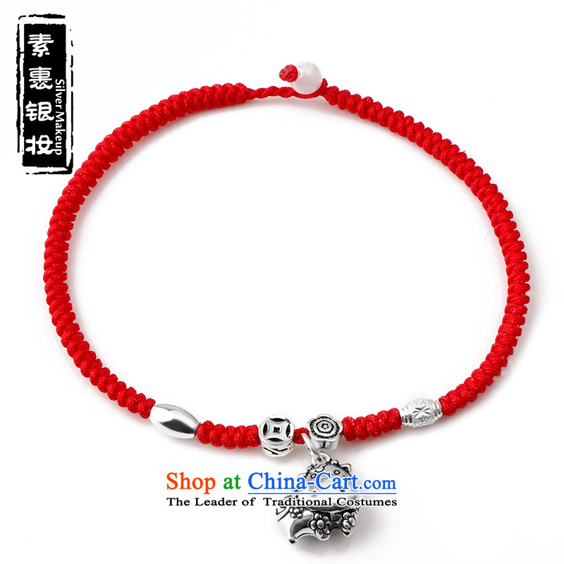 Covered in Colombia聽925 Silver Silver red chains female hand woven zodiac fashion chains and verdant Sheep Foot link-Yuk-free _please leave the Chinese zodiac, lettering and inscriptions content_