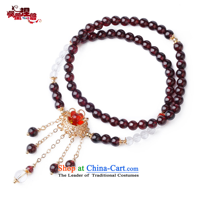 Phoenix Nirvana Hand chain female retro multi-storey white stone pomegranates crystal Red Agate hand string China wind ornaments AA300150610W manually Mui makeup Hand chain