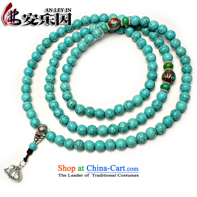 Easy-to-edge optimization turquoise bead bracelets 108 hand string Tibetan silver screws zodiac multi-tier hand chain men and women of the Chinese zodiac of the mouse 8mm
