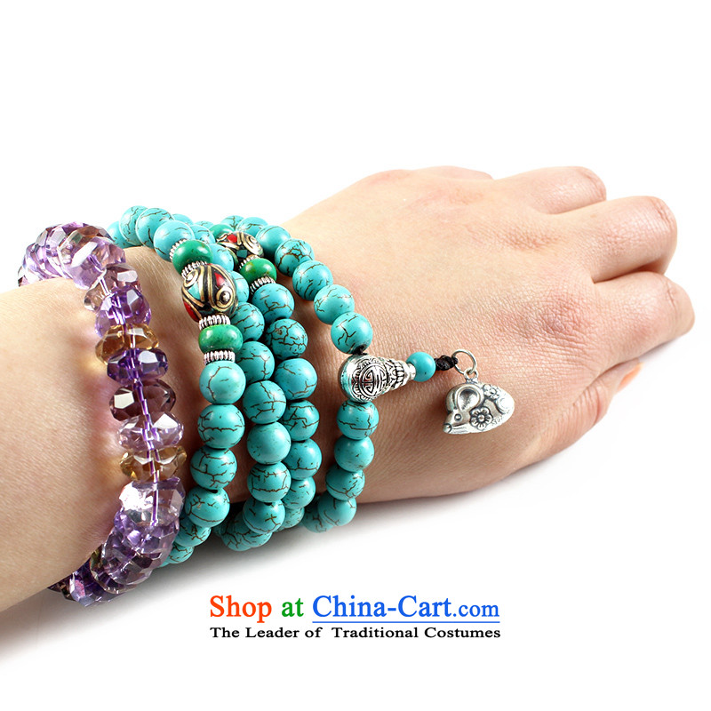 Easy-to-edge optimization turquoise bead bracelets 108 hand string Tibetan silver screws zodiac multi-tier hand chain men and women of the Chinese zodiac of the mouse by euthanasia checelony pendant shopping on the Internet has been pressed.