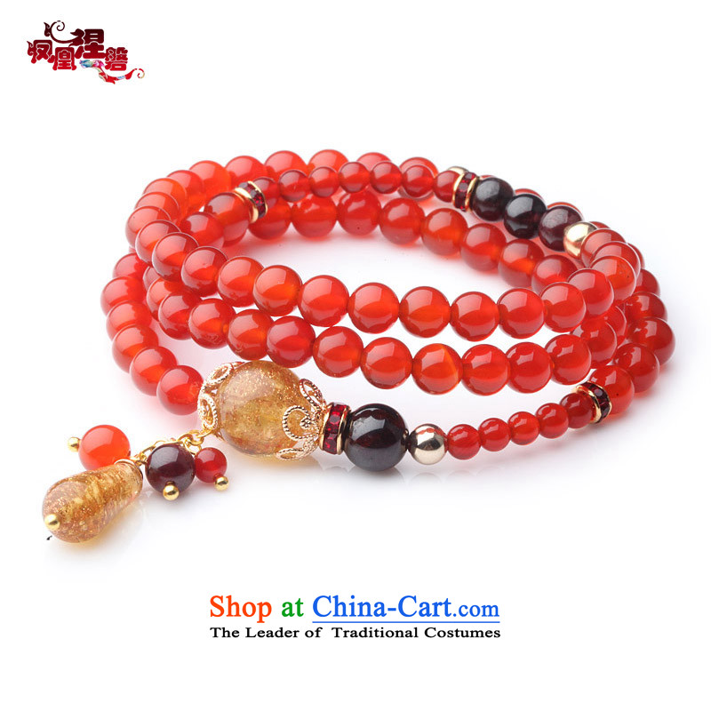 Phoenix Nirvana Hand chain female natural Red Agate pomegranates stone multi-tier original hand string China wind verdant, manually Ornaments