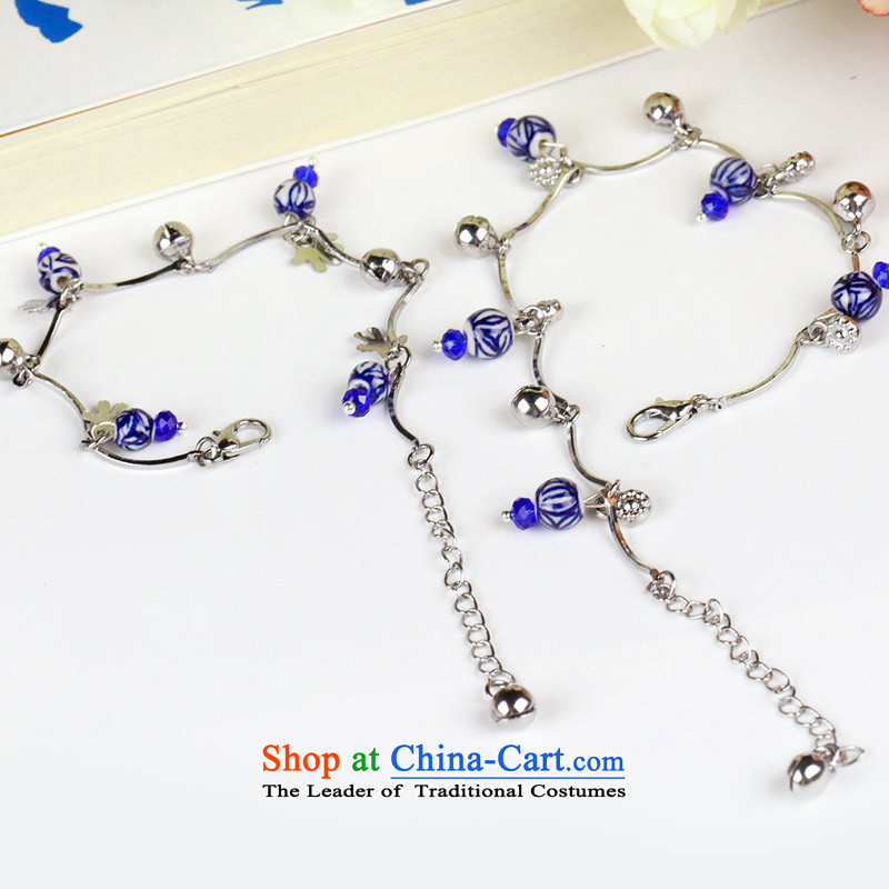 Jing Huan stylish creative Chinese Ethnic Wind rushed girlfriend gift manually jewelry accessories ceramic Blue Bell JBLT019 hand Chain Link Pin Kit