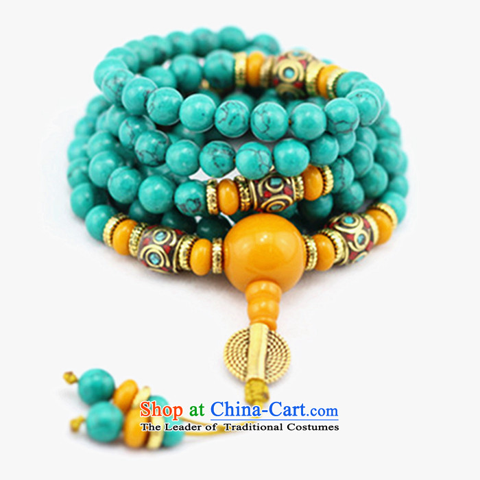 Good house-woo Tibetan style emulation turquoise bead bracelets 108 screws hand chain multiple layers of candida albicans ground resin honey wax female couple of Buddha's head of the Chinese zodiac chicken