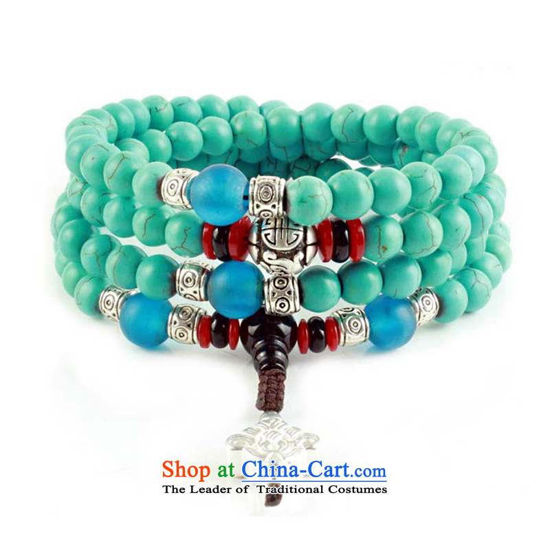 Good house-woo Tibetan style emulation turquoise bead bracelets 108 screws hand chain multiple layers of candida albicans ground resin honey wax female couple of Buddha's head of the Chinese zodiac, Woo good house chicken , , , shopping on the Internet