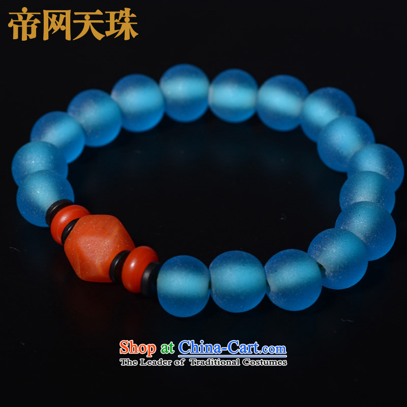 Kingcom Dzi Beads on the Law of the ancient trees glass Candida Albicans Hand chain Aquamarine is simple and stylish spiritual amending the law to string
